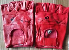 WWF The Heartbreak Kid Shawn Michaels Red Leather Gloves WWE HBK Size Large