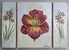 Wandbild Deko 3 teilig Blumen Motiv