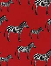 Timeless Treasures Animals C2619 Red Zebra   Cotton Fab