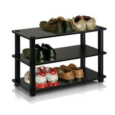 Furinno Turn-S-Tube 3-Tier Shoe Rack, Espresso/Black 13080EX/BK Shoe Rack NEW