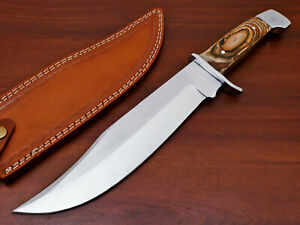 HAND FORGED STAINLESS STEEL HUNTING BOWIE KNIFE-HARD WOOD HANDLE-PK-1883