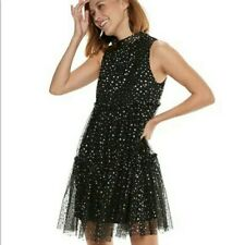 POPSUGAR BLACK GOLD STARS DRESS MESH SLEEVELESS FIT FLARE DRESS BIRTHDAY GIFT