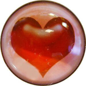 """Valentine 1"""" Crystal Dome Button #1 Brilliant Red Heart! FREE US SHIPPING"""