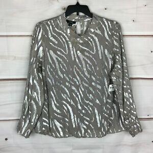 Alfani Plus Size Metallic Zebra-Print Bubble Womens 3X Gray Woven Blouse Top New
