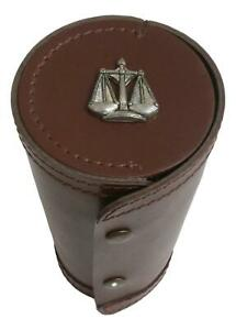 Libra Scales 1-10 Numbered Cups in Brown Leather Popper Case 219