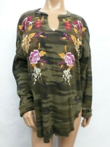 NWT Johnny Was JWLA Zosia V-Neck Long Sleeve Thermal Top - XL - OL45660921