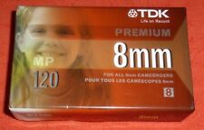 TDK PREMIUM 8MM 120 MINUTE BLANK CAMCORDER TAPE - P6-120MP - BRAND NEW & SEALED