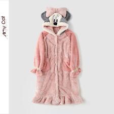 Women's Pink Pyjamas Autumn & Winter Hooded Bow Long Nightgown Plush Nightwear