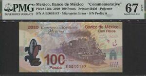 TT PK 128a 2010 MEXICO BANCO 100 PESOS COMMEMORATIVE PMG 67 EPQ SUPERB GEM UNC!