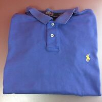 Ralph Lauren XXL 2XL Blue Short Sleeve Polo Shirt Yellow Pony Logo Genuine