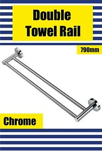Brand New- CHROME- Round Double Towel Rail 790mm (Lucid Pin Lever Series)