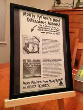 """SMALL 6X8 FRAMED MONTY PHYTHON 'S FLYING CIRCUS"""" LP ALBUM CD PROMO AD"""