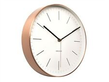 KARLSSON Minimal White Wall Clock With Copper Case NEW