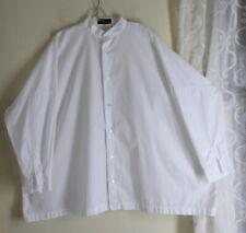 Eskandar 2 RARE VERY Long Boxy White Oversized Lagenlook Crisp Cotton Shirt Top