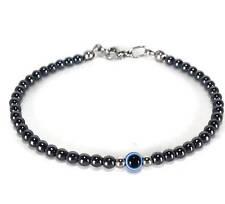 Tiny evil eye hematite bracelet, Greek evil eye protection bracelet
