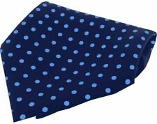 David Van Hagen Mens Polka Dot Silk Pocket Square - Navy/Light Blue