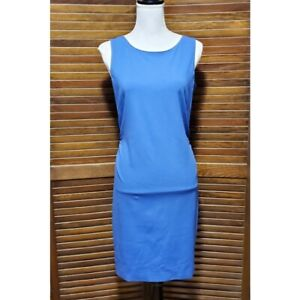 NWT Etcetera Blue Dress Gathered Back Sheath Dress Sleeveless Zipper Size 4