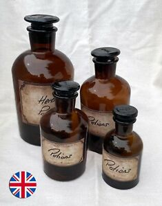 Antique-style Apothecary Amber Glass Jars