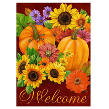 Hot Fall Glory Floral Home Garden Flag Pumpkins Sunflowers Autumn Garden Flag