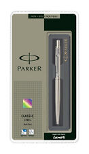 Parker Classic Steel Chrome Trim CT Ball Point Pen 0.8mm Blue Fine Ink Jotter BP