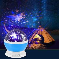 USB LED Starry Night Sky Moon Galaxy Projector Lamp Star Light Cosmos Decor Gift