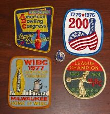Lot of 4 Abc Wibc 61-77 Bowling Patches League Champion & 200 Game Pin Twba