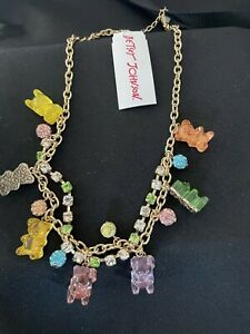 Authentic Betsey Johnson Gummy Bear Gold Tone Necklace NWT