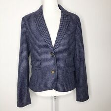 Land's End Blue Gray Wool Houndstooth 2 Button Jacket Blazer 8