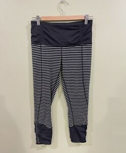 Lululemon Runday Crop Parallel Stripe Size 6 Black White Ankle Zipper Gym Womens