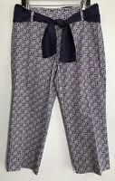 Talbots New Womens 12 Crop Pants Stretch Purple White Sash Belt Comfort Crisp