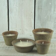 Citronella Fragranced Candle in Terracotta Round Shabby Pot Jar BBQ Garden Party