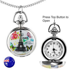 One Paris Butterflies FOB/Pocket/Necklace Quartz Watch with 80CM Long Chain