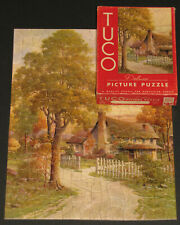 "VINTAGE TUCO DELUXE PICTURE PUZZLE JIGSAW ""TIS A COTTAGE SMALL"" COUNTRY HOME CIB"