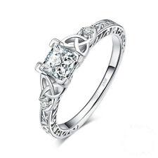 Luxury Princess Cut White Sapphire Ring 925 Silver Chic Wedding Jewelry Size4-10