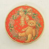 Hallmark 1986 Christmas Ornament Padded Satin Teddy Bear Wreath Vintage