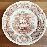 Meakin brown transferware plate with sailing ship Fair Winds pattern 10.5 inches
