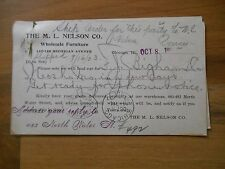 Antique 1903 M.L. Nelson Furniture Chicago Illinois Advertising Sales Order Card