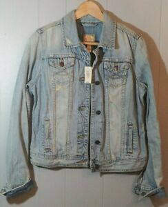 Abercrombie Fitch Women's Jean Jacket Distressed Light Colored NWT Sz L