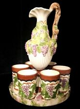 VINTAGE ARNELS Ceramic Hand Painted Grape Ewer Wine Decanter with Tray & Goblets
