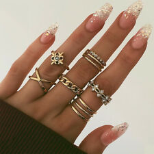 8 Pcs/Set Gold Midi Finger Ring Crystal Star Boho Knuckle Chain Ring Set Jewelry