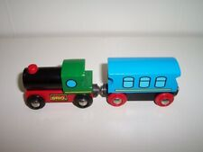 BRIO Wooden Railway Train Engine & Blue Carriage Lot Fits Thomas Track