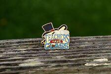 Teachers Have Class Top Hat Cane Gold Tone Metal & Enamel Lapel Pin Pinback