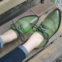 US SIZE Retro Leather Lace Up Wingtip Formal Dress Oxford Womens Girls Shoes New