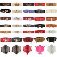 Women Lady Fashion Wide Metal Buckle Elastic Stretch Corset Waistband Waist Belt