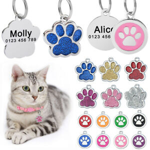 Personalized Dog Tags Custom Engraved Cat Dogs Pet ID Name Tags Collar Bling Paw
