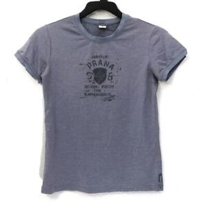 Prana Blue Crew Neck Graphic Ringer T-Shirt Made in USA Juniors Size L