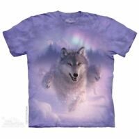 Northern Lights T-Shirt by The Mountain.  Snow Wolf Wolves Sizes S-5X NEW