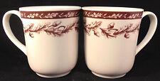 2 Wedgwood Plymouth Coffee Mugs Williams Sonoma England Oak Leaf Acorn Demitasse