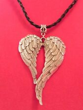 Angel Wings Double Heart Bird Feather Wing Large Silver Charm Leather Necklace