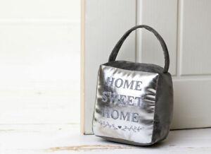 NEW Home Sweet Home Door Stop Fabric Heavy Weighted Silver Grey Doorstop Stopper
